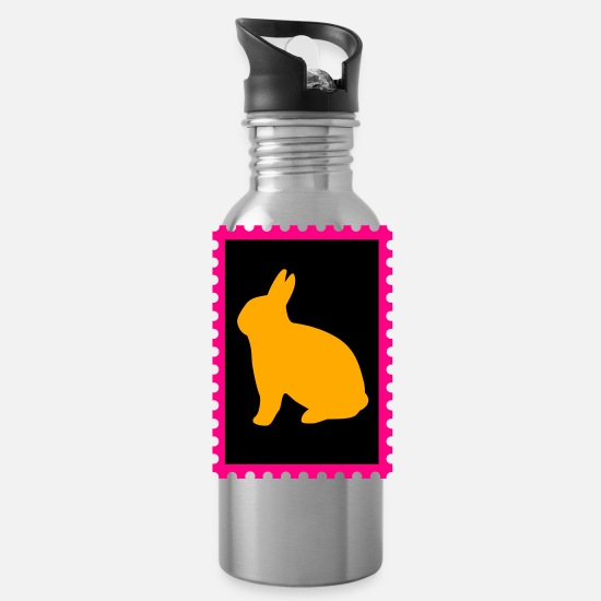 Border Mugs & Drinkware - stamp with bunny - Water Bottle silver