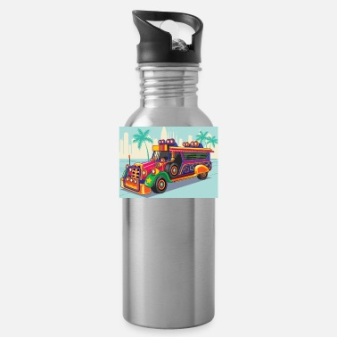 Minibus Philippine Jeep vector Illustration or Jeepney - Water Bottle