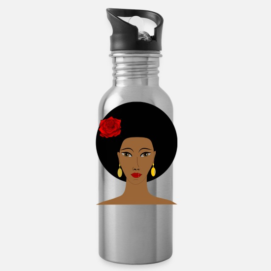 Face Mugs & Drinkware - afro - Water Bottle silver