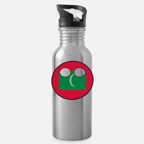 New Mugs & Drinkware - Countryball Laenderball Land Heimat Malediven - Water Bottle silver
