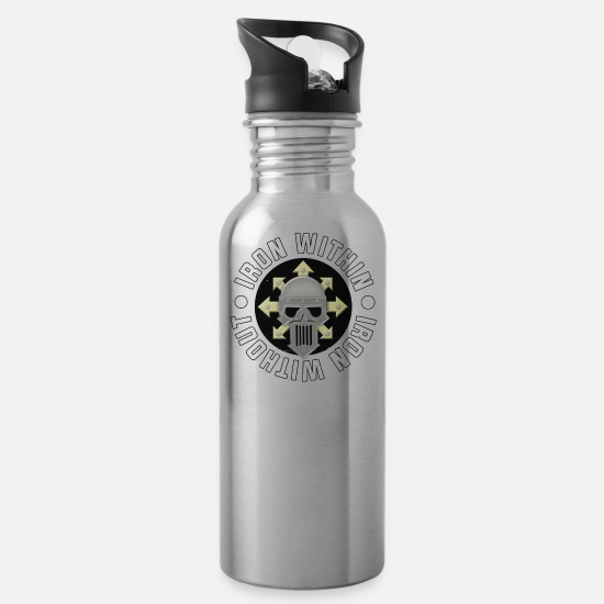Iron Cross Mugs & Drinkware - iron warriors - Water Bottle silver
