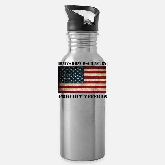 Veteran Mugs & Drinkware - proudly veteran - Water Bottle silver