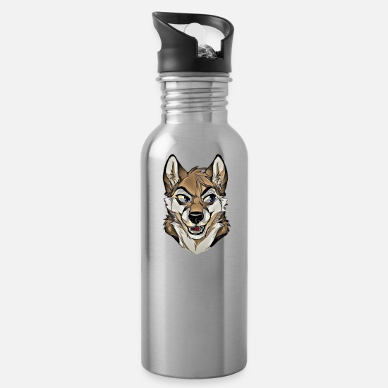 Wolf Mugs & Drinkware - Furry wolf logo - Water Bottle silver