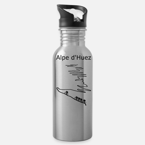 Alps Mugs & Drinkware - Alpe d Huez black for cyclist - Water Bottle silver