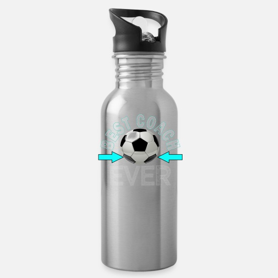 Soccer Mugs & Drinkware - Awesome Soccer Coach Appreciation Gift Design Best Soccer Coach Ever - Water Bottle silver