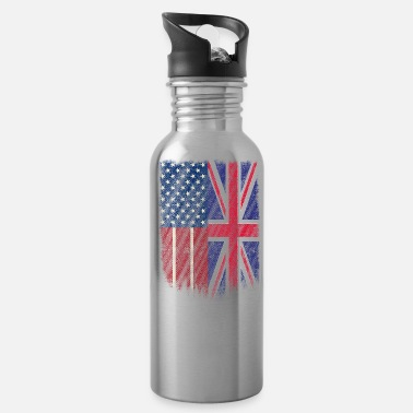 England British American Tshirt America England Shirt Flag Pride - Water Bottle