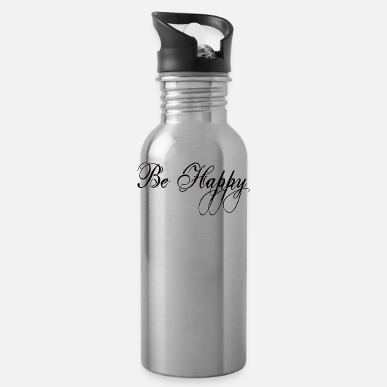Happy Mugs & Drinkware - be happy cool jazz comic joy valentine - Water Bottle silver