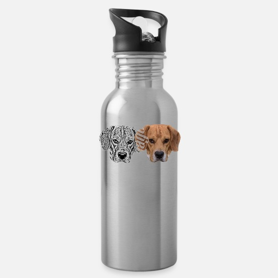 Dog Head Mugs & Drinkware - Dog,dog head,dog face,dog breed,doge,dog lover,dog - Water Bottle silver