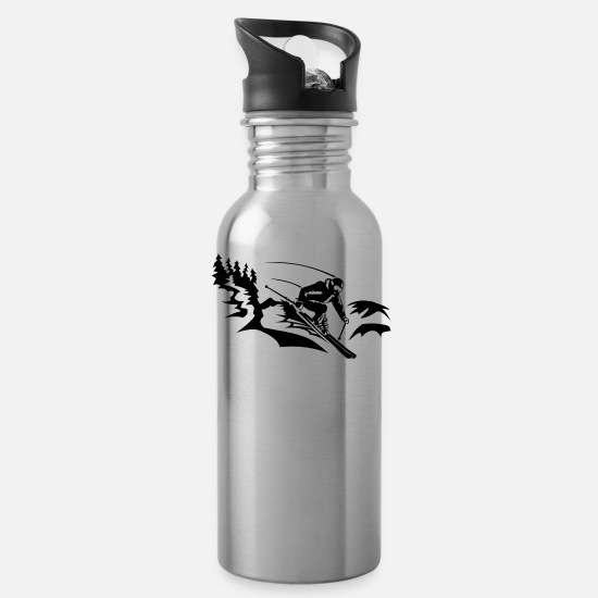 Winter Sports Mugs & Drinkware - Skiers on the ski slopes in a sporty and fast way - Water Bottle silver