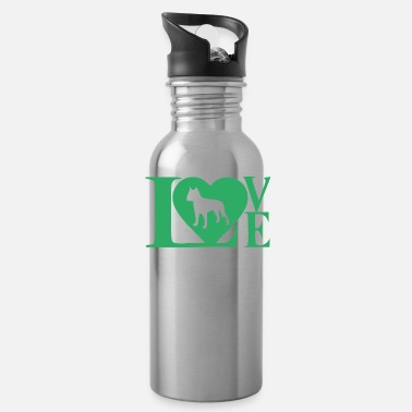 dog love logo in green - Water Bottle