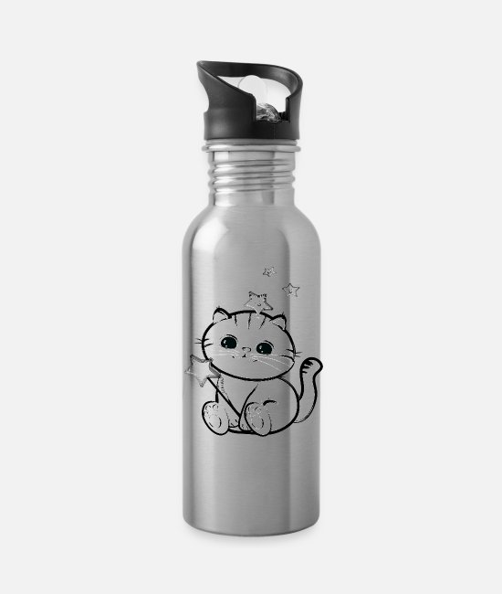 Black And Withe Mugs & Cups - lucky chibi cat - Water Bottle silver