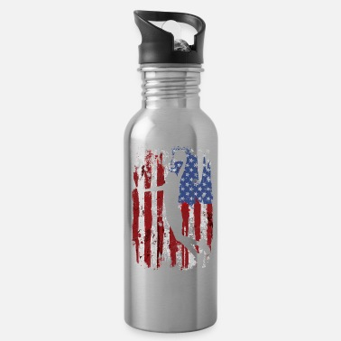 4th Basketball USA Flag - Water Bottle