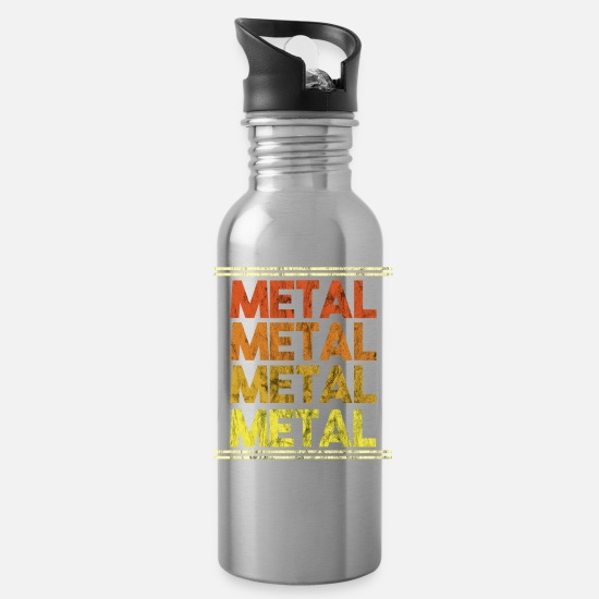 Birthday Mugs & Drinkware - Metal Music Shirt - Gift - Water Bottle silver