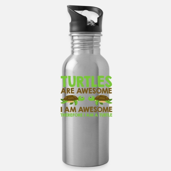 Turtle Mugs & Drinkware - Turtles Are Awesome funny Turtle Lover Gift - Water Bottle silver