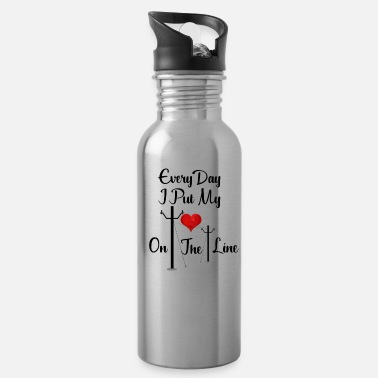 Electrical Line Every Day I Put My Heart On The Line Design for Linemans Wife - Water Bottle