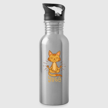 cat yoga meditate adorable gift idea - Water Bottle