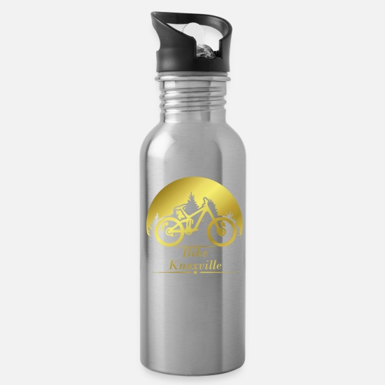 Mountains Mugs & Drinkware - Bike Knoxville Tennessee gold - Water Bottle silver