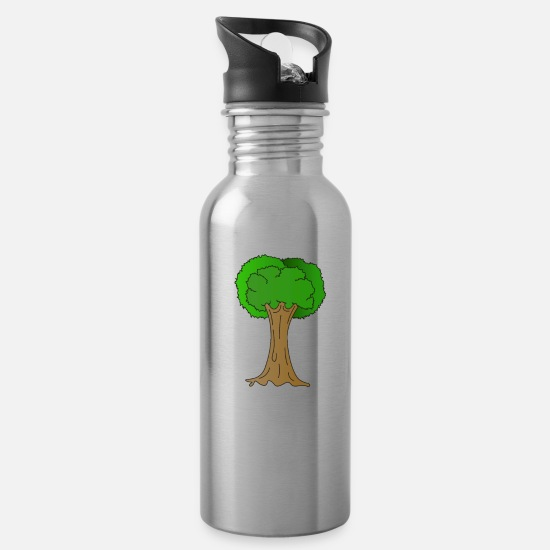Save The World Mugs & Drinkware - Beautiful Nature Tree Tshirt Design Hugger Tree - Water Bottle silver