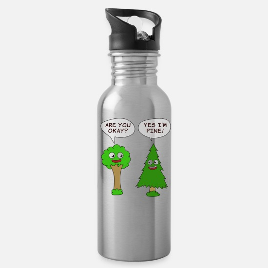 Tree Mugs & Drinkware - Beautiful Nature Tree Tshirt Design Are You Okay? - Water Bottle silver