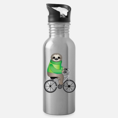 Bike Sloth on bycyle cycling sloth cycling bike gift - Water Bottle