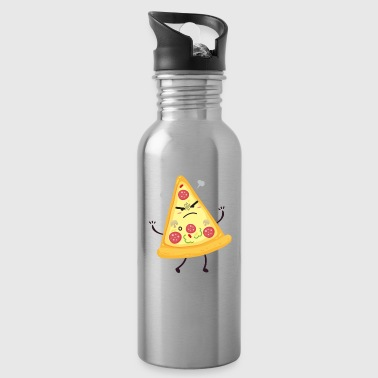 Pizza Party Angry Slice Motivational Design - Water Bottle