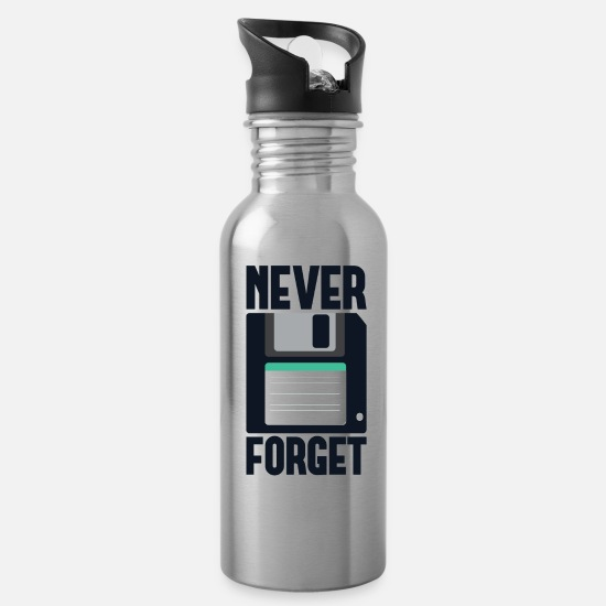 Computer Mugs & Drinkware - Never Forget Computer PC Floppy Disk - Water Bottle silver