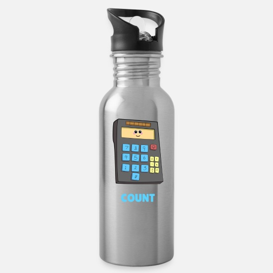 Pun Mugs & Drinkware - You Can Count On Me Cute Calculator Pun - Water Bottle silver