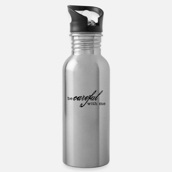 Ghetto Mugs & Drinkware - be careful with me - Water Bottle silver