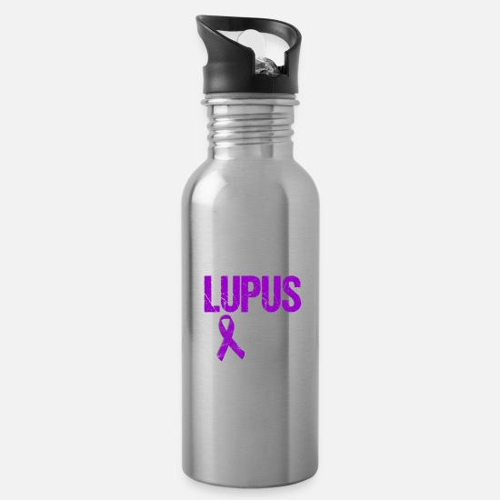 Lupus Mugs & Drinkware - Son of a Lupus Warrior with Ribbon - Water Bottle silver