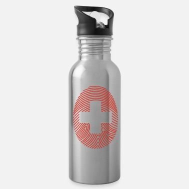Army Swiss Fingerprint Gift Christmas Flag Cross - Water Bottle