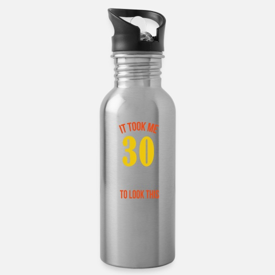 30th Birthday Mugs & Drinkware - 30th Birthday Present Funny Saying - Water Bottle silver