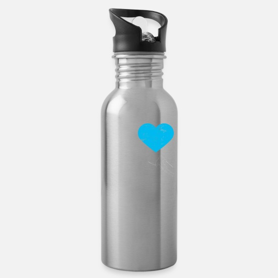 Mountains Mugs & Drinkware - Skiing Ski - Water Bottle silver
