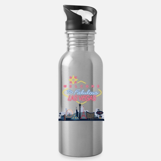 Vegas Mugs & Drinkware - las vegas skyline - Water Bottle silver