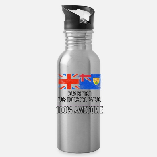 England Mugs & Drinkware - 50% British 50% Turks And Caicos 100% Awesome - Water Bottle silver