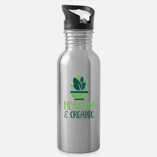 Gift Idea Mugs & Drinkware - Healthy and Organic - Water Bottle silver