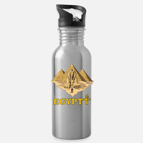 Ancient Mugs & Drinkware - Egyptian Pyramids Ancient Sphinx Ankh Mythology - Water Bottle silver