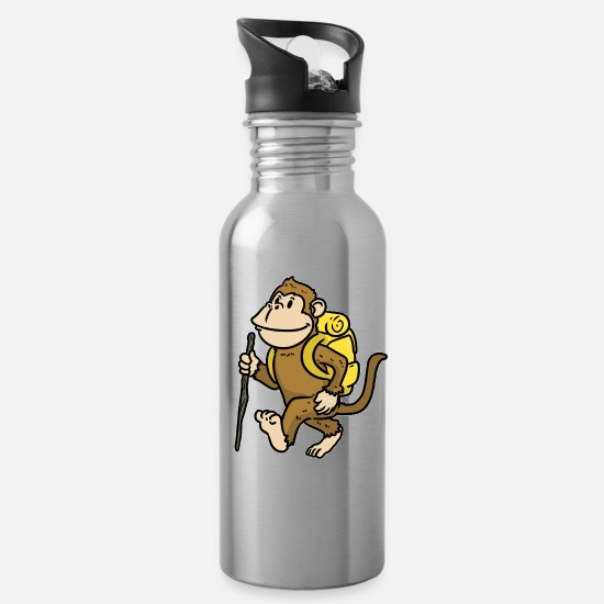 Nature Mugs & Drinkware - Hiking Outdoor Tent Excursion Backpacker Gift - Water Bottle silver