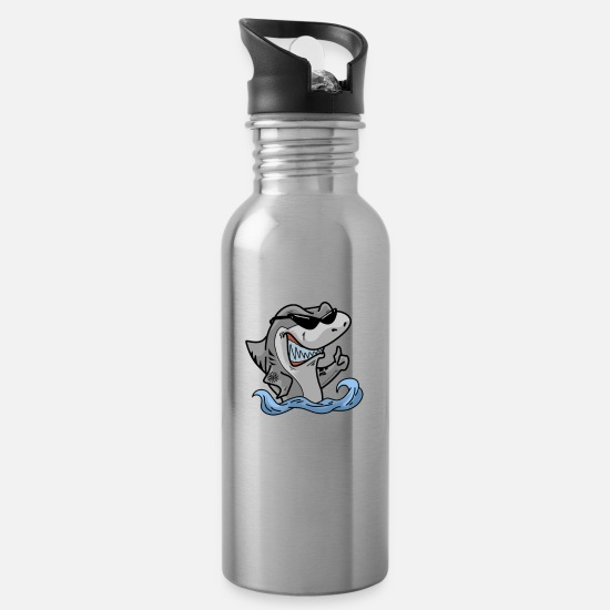 Kindergarten Mugs & Drinkware - Teacher Shark doo doo doo your work fun at school - Water Bottle silver