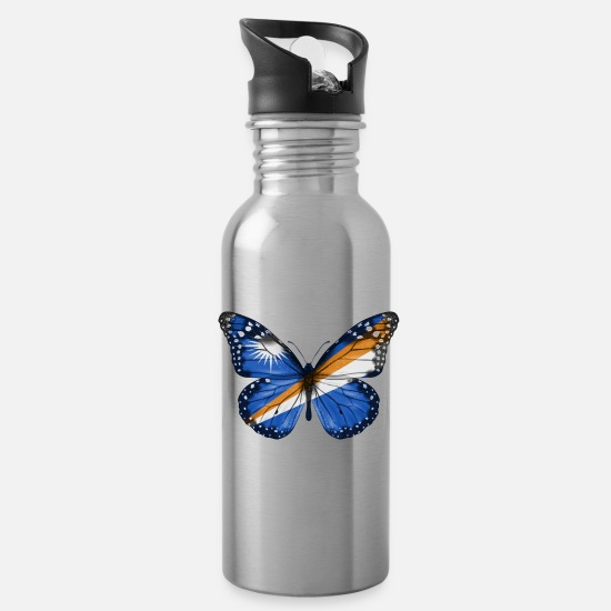 Father's Day Mugs & Drinkware - Butterfly Flag Of Marshall Island - Water Bottle silver