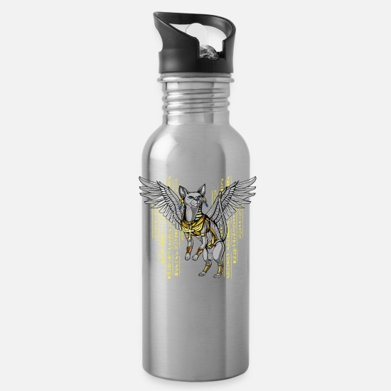 Egypt Goddess Mugs & Drinkware - Egyptian Cat Goddess Bastet Ancient Mythology - Water Bottle silver