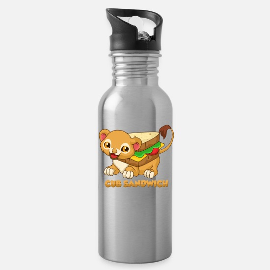 Funny Animals Mugs & Drinkware - Cub Sandwich - Baby Lion Mix - Water Bottle silver