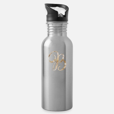 Monogram Rose Gold Marble Monogram Alphabet Letter B design - Water Bottle