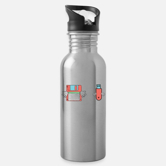 Gift Idea Mugs & Drinkware - Floppy USB Stick retro funny fantasy gifts - Water Bottle silver