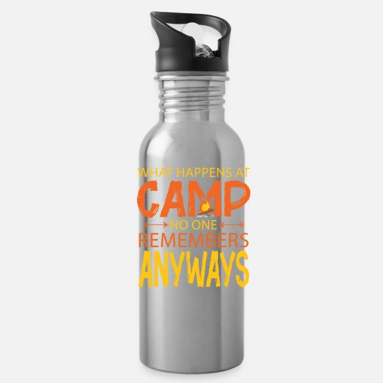 Nature Mugs & Drinkware - Camping Excursion Gift Camping Outdoor Tent Forest - Water Bottle silver