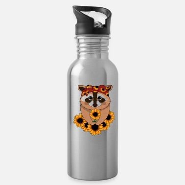Stylish Raccoon Bandana Funny Animal Sunflowers - Water Bottle