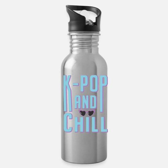 S Mugs & Drinkware - kpop and chill music - Water Bottle silver