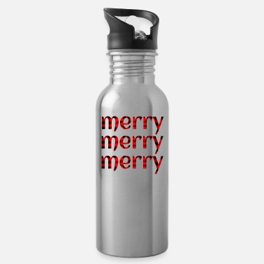 Merry Plaid Christmas Merry Merry Merry - Water Bottle