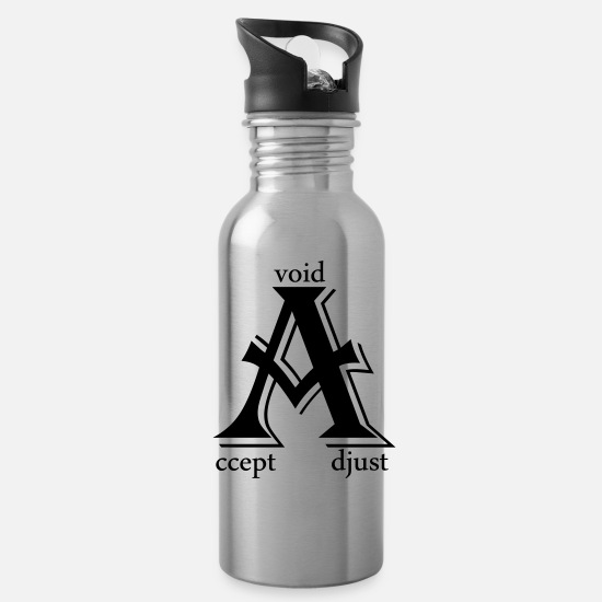 Typography Mugs & Drinkware - accept adjust avoid - Water Bottle silver