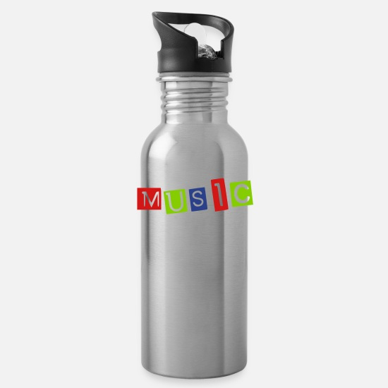 I Love Music Mugs & Drinkware - Music - Water Bottle silver