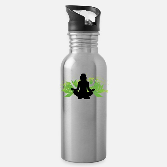 Tibetan Mugs & Drinkware - Lucy Ohm - Water Bottle silver